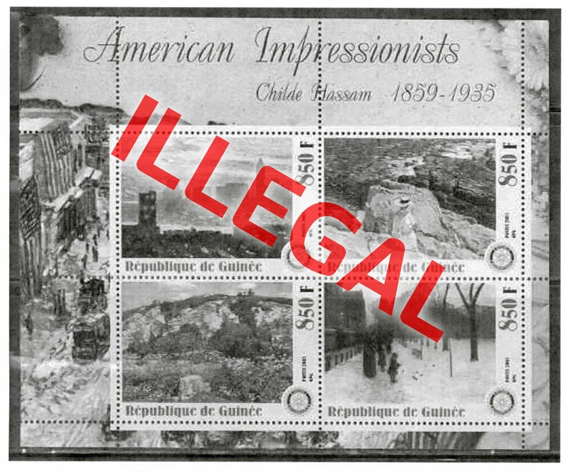 Illegal stamps of Guinea. American impressionists. Hassam