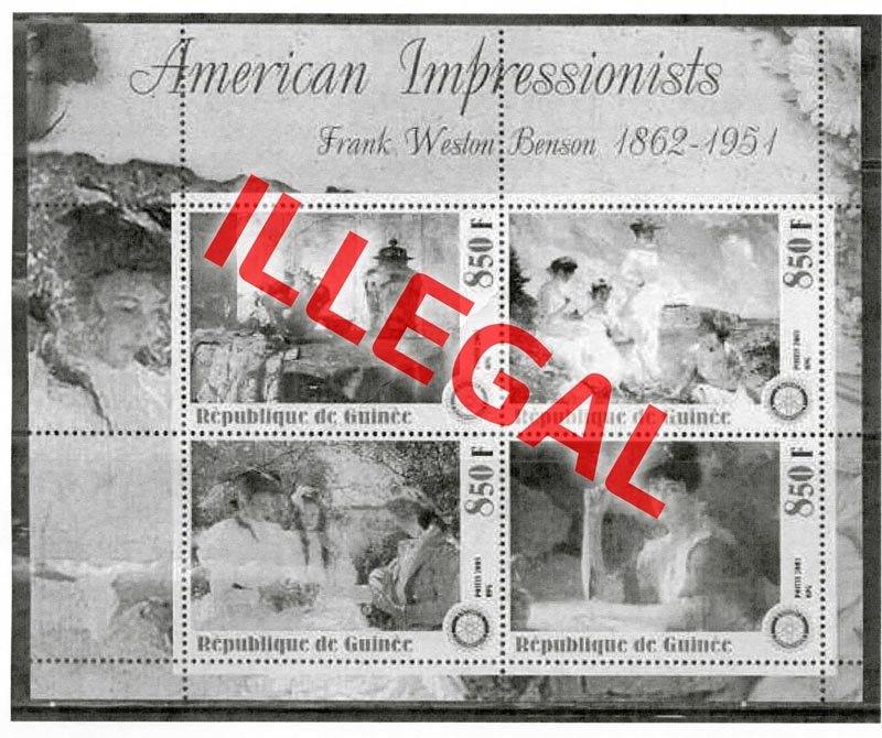 Illegal stamps of guinea. American impressionists. Benson