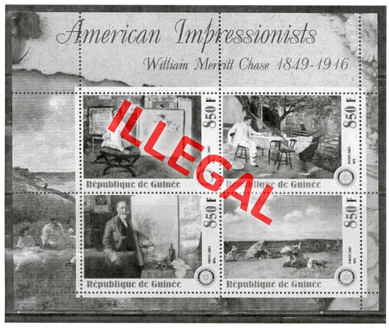 Illegal stamps of guinea. American impressionists. Chase