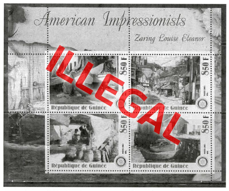 Illegal stamps of guinea. American impressionists. Eleanor