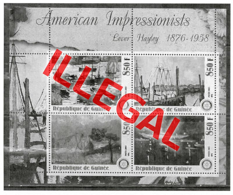 Illegal stamps of guinea. American impressionists. Hayley