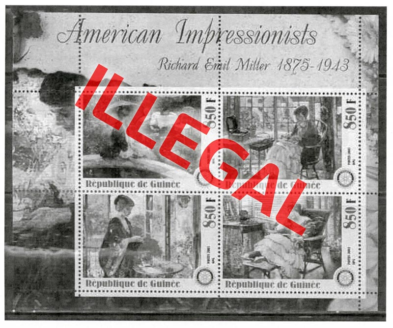Illegal stamps of guinea. American impressionists. Miller