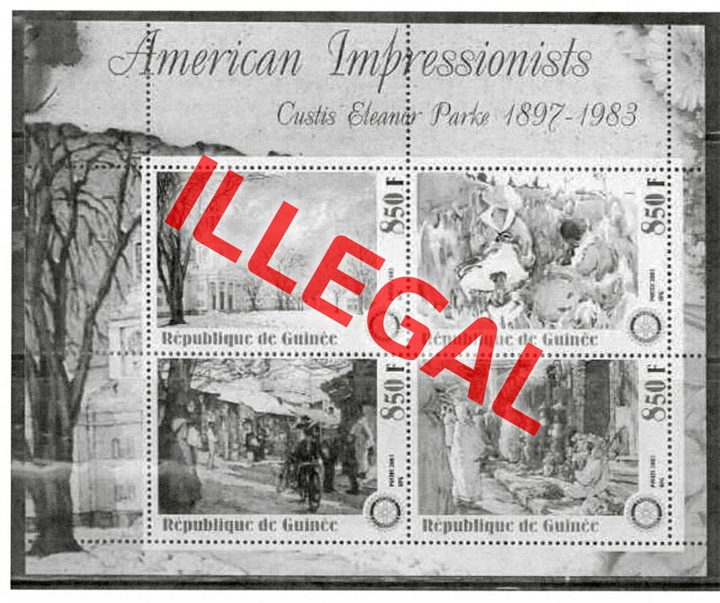 Illegal stamps of guinea. American impressionists. Parke
