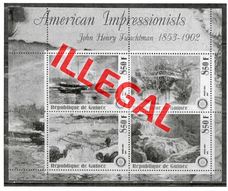 Illegal stamps of guinea. American impressionists. Twachtman
