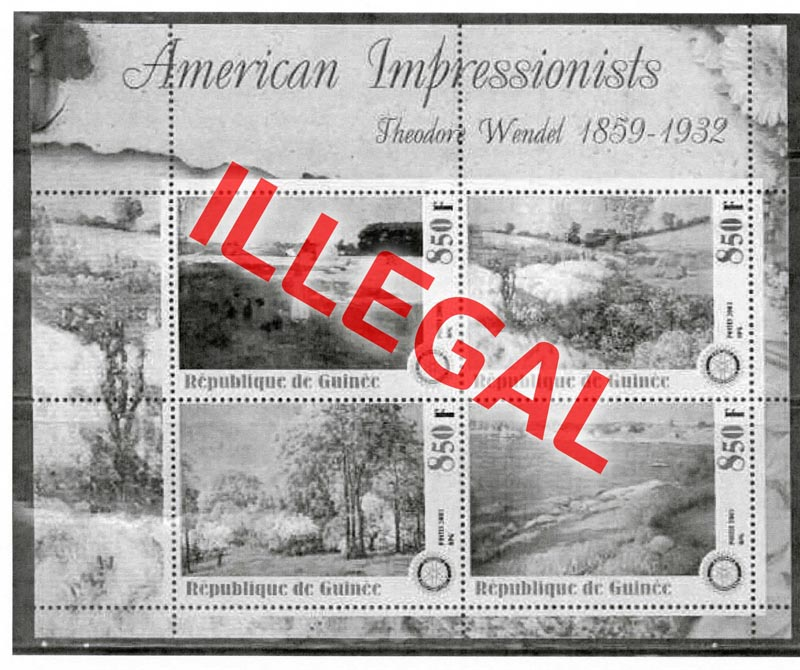 Illegal stamps of guinea. American impressionists. Wendel