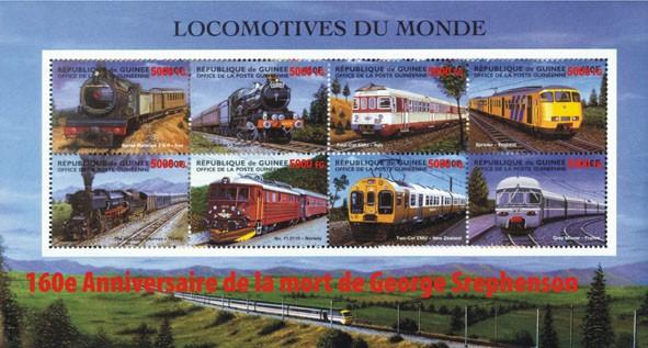160e Anniversaire de la mort de Stephenson - Issue of Guinée postage stamps