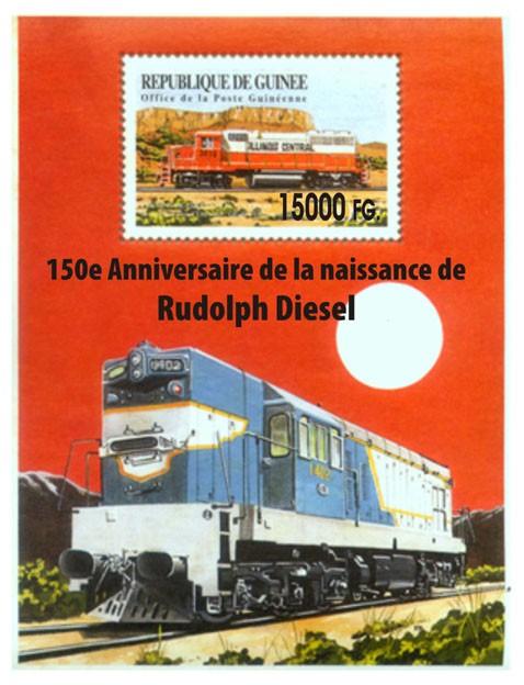 150e Anniversaire de la naissance de Rudolph Diesel - Issue of Guinée postage stamps