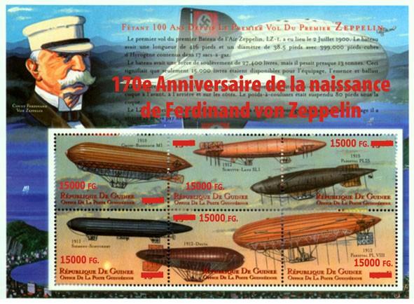 170e Anniversaire de la naissance de Ferdinand von Zeppelin - Issue of Guinée postage stamps