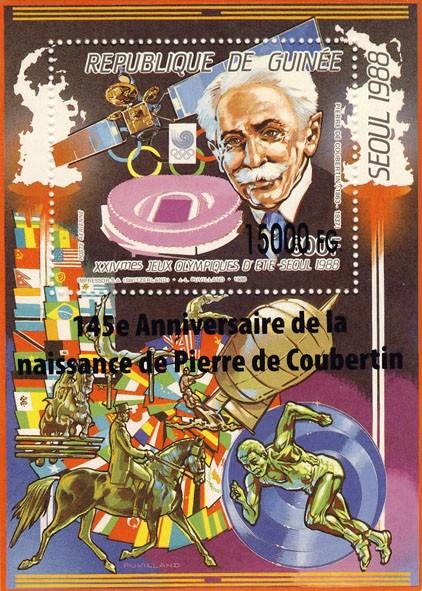 145e Anniversaire de la naissance de Pierre de Coubertin - Issue of Guinée postage stamps