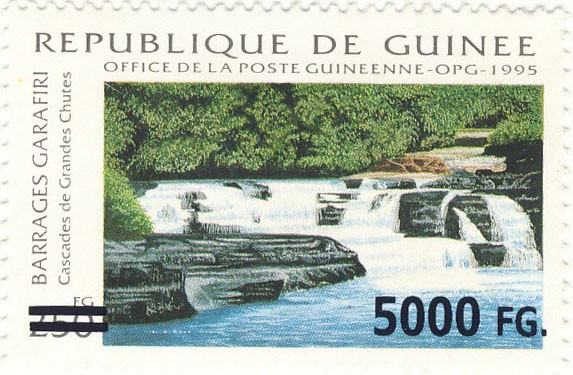 Waterfalls - Issue of Guinée postage stamps