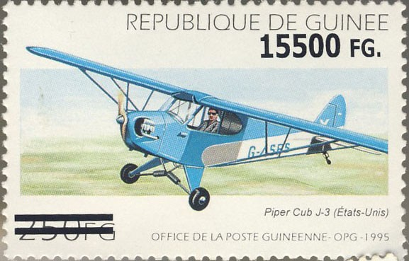Airplane - Issue of Guinée postage stamps