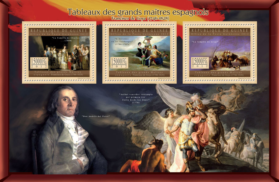 Great Spanish Masters Paintings VIII - Issue of Guinée postage stamps