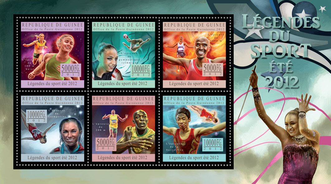 Sports legends summer 2012 V - Issue of Guinée postage stamps