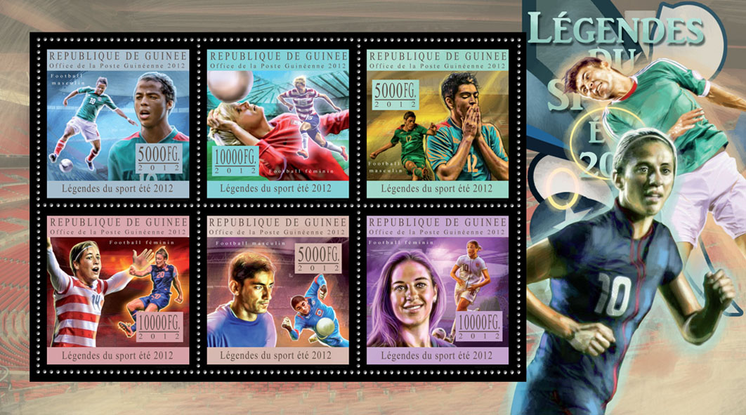 Sports legends summer 2012 VI - Issue of Guinée postage stamps
