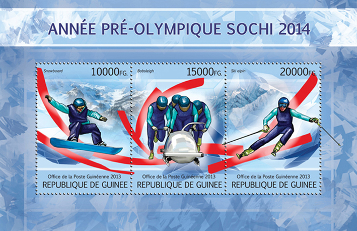 Year pre-Olympic Sochi 2014 - Issue of Guinée postage stamps