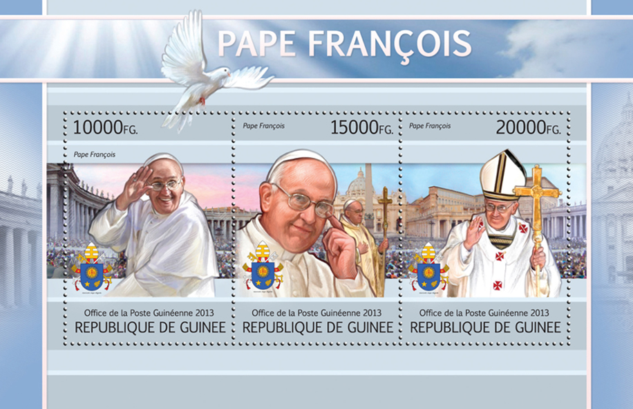 Pope Francis - Issue of Guinée postage stamps