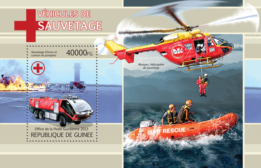 Rescue vehicles - Issue of Guinée postage stamps