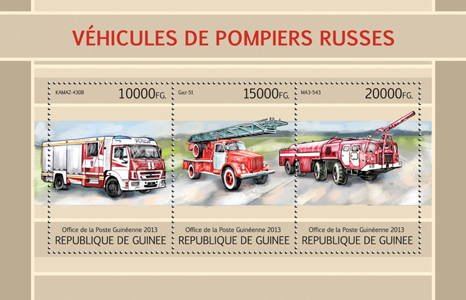 Russian Fire engines - Issue of Guinée postage stamps