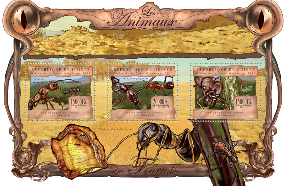 Ants - Issue of Guinée postage stamps
