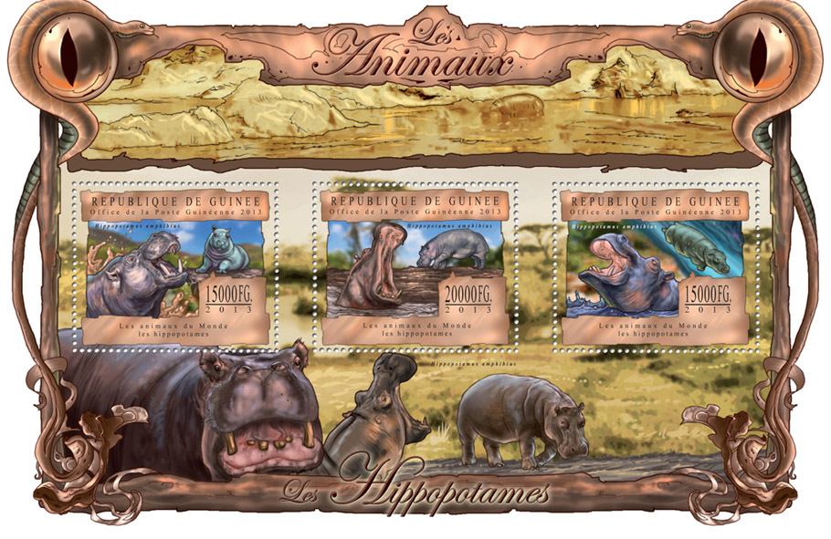 Hippos - Issue of Guinée postage stamps