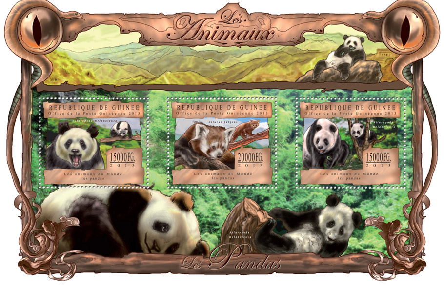 Pandas - Issue of Guinée postage stamps