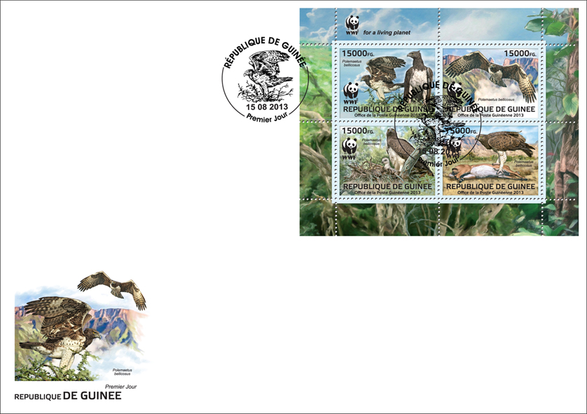WWF - Birds of prey, (Polemaetus bellicosus). (set) - Issue of Guinée postage stamps