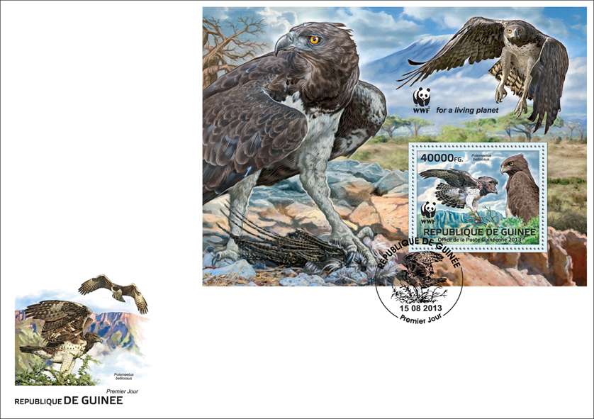 WWF - Birds of prey, (Polemaetus bellicosus). (souvenir sheet) - Issue of Guinée postage stamps