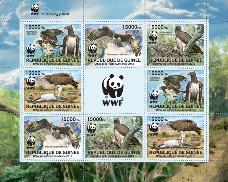 WWF - Birds of prey, (Polemaetus bellicosus). (2 sets) - Issue of Guinée postage stamps