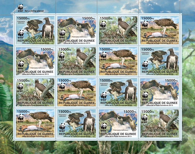 WWF - Birds of prey, (Polemaetus bellicosus). (4 sets) - Issue of Guinée postage stamps