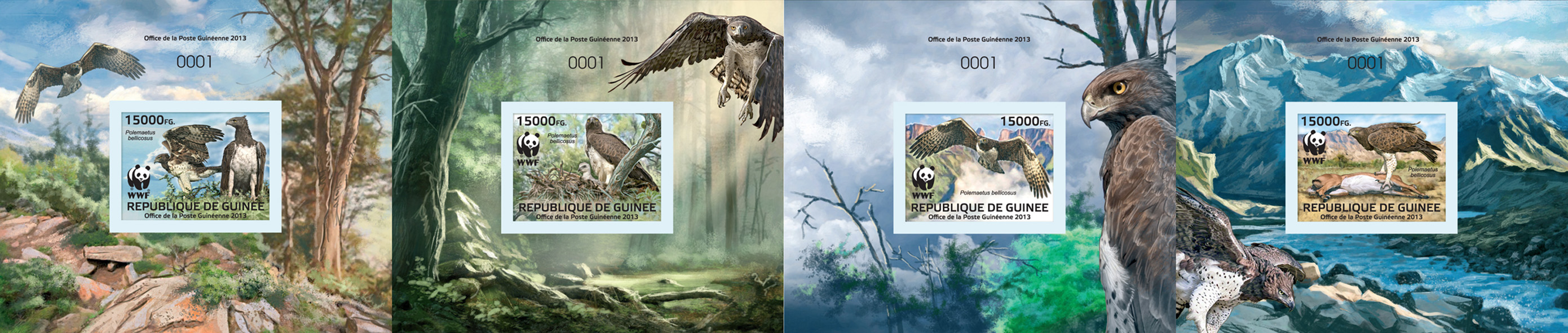 WWF - Birds of prey - Issue of Guinée postage stamps