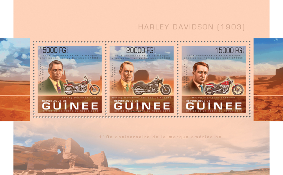 Harley Davidson - Issue of Guinée postage stamps
