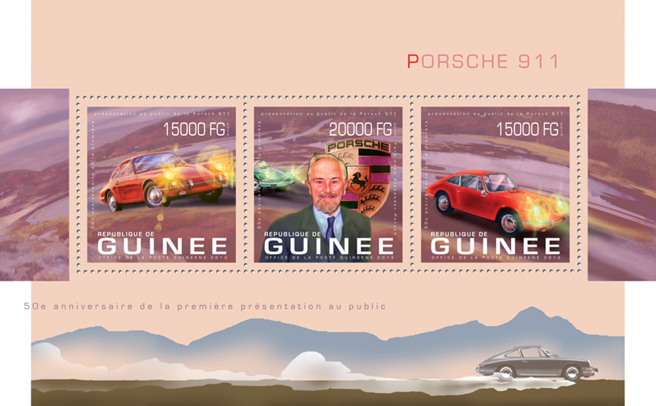 Porsche 911 - Issue of Guinée postage stamps