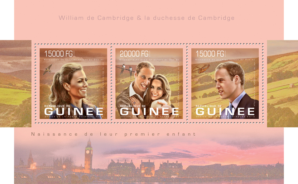 Prince William and Kate Middleton - Issue of Guinée postage stamps