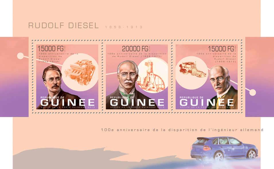 Rudolf Diesel - Issue of Guinée postage stamps