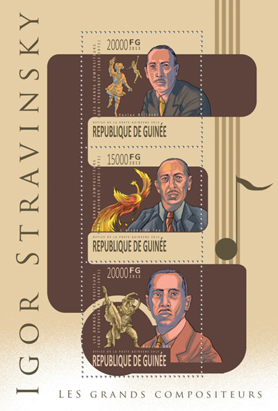 Igor Stravinsky - Issue of Guinée postage stamps