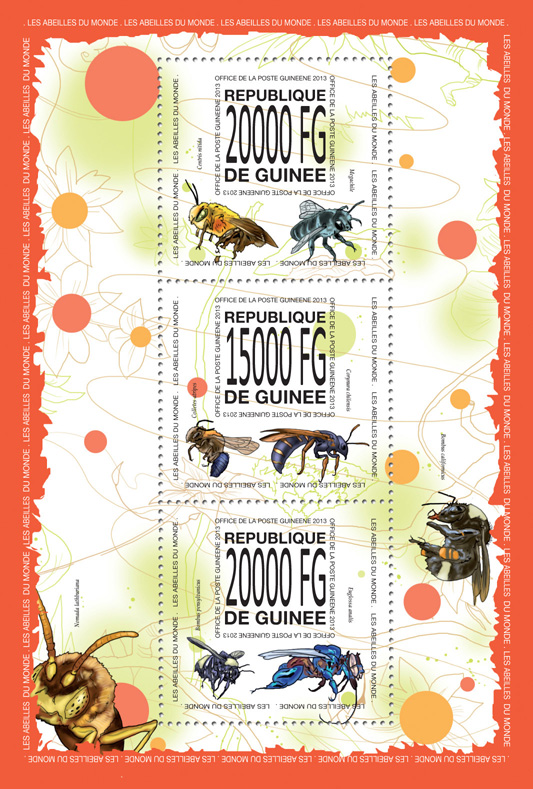 Bees - Issue of Guinée postage stamps