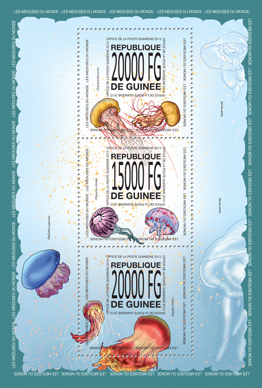 Jellyfish - Issue of Guinée postage stamps