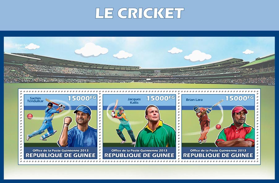Cricket - Issue of Guinée postage stamps