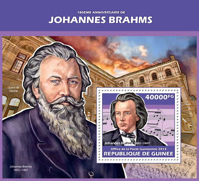 Johannes Brahms - Issue of Guinée postage stamps