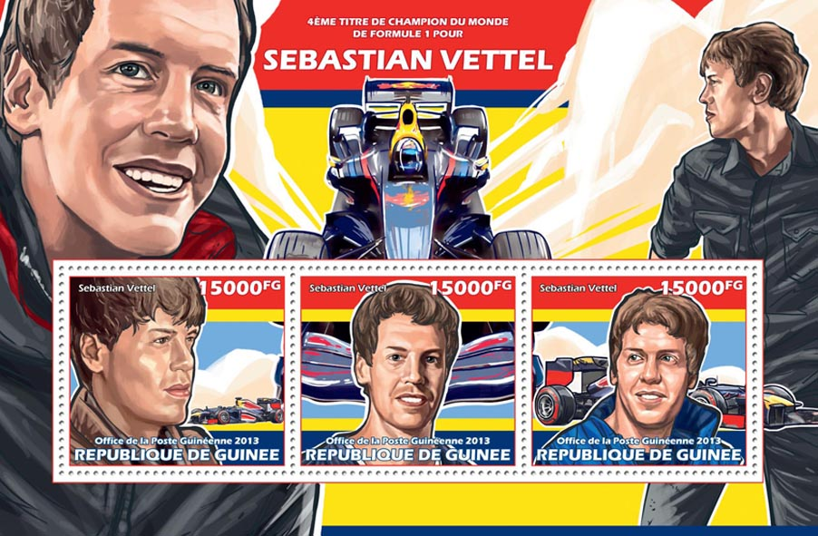 Sebastian Vettel - Issue of Guinée postage stamps