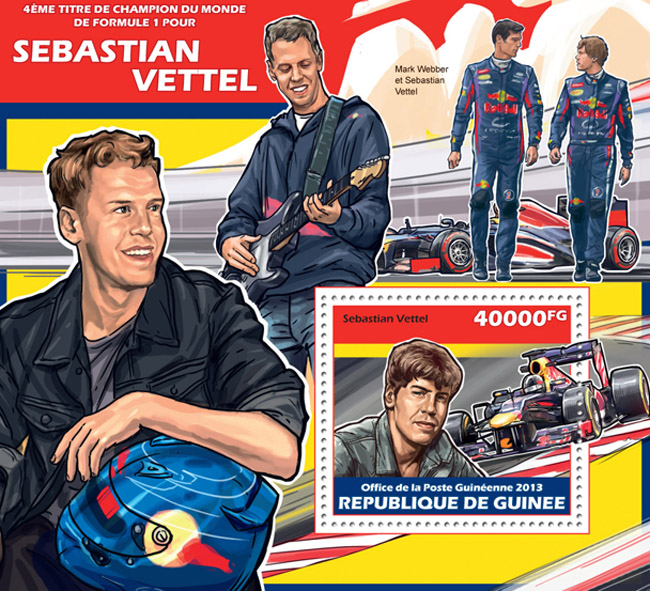 Sebastian Vettel - Issue of Guinée postage stamps