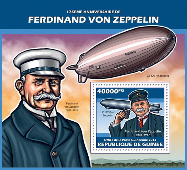 Ferdinand von Zeppelin - Issue of Guinée postage stamps