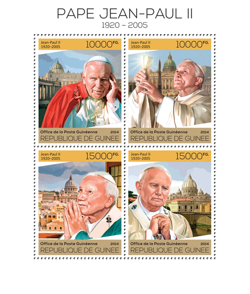 Pope John Paul II - Issue of Guinée postage stamps