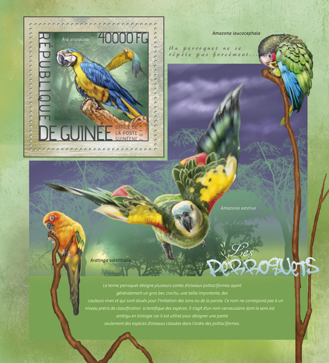 Parrots - Issue of Guinée postage stamps