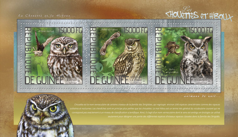 Owls - Issue of Guinée postage stamps