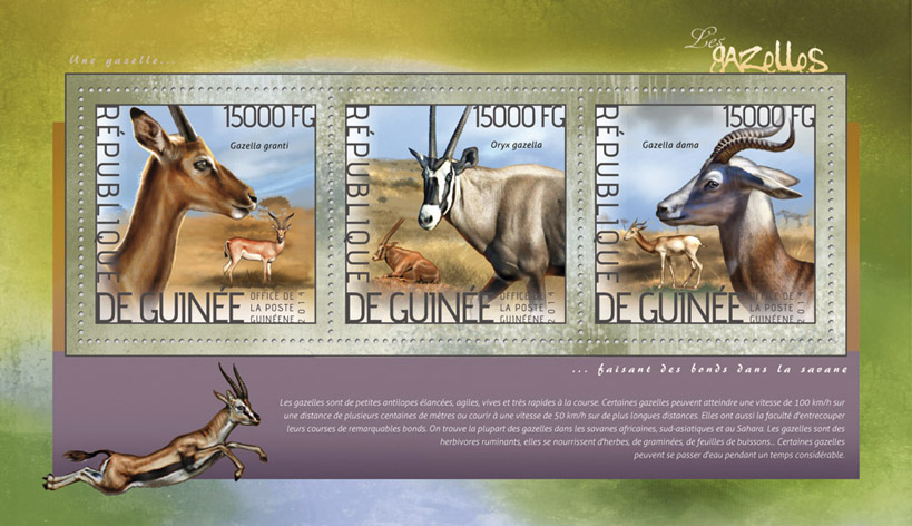 Gazelles - Issue of Guinée postage stamps