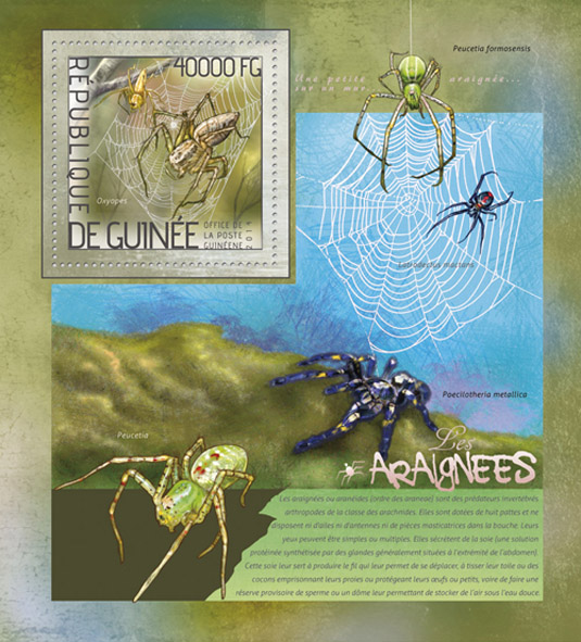 Spiders - Issue of Guinée postage stamps