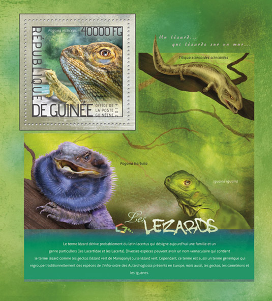 Lizards - Issue of Guinée postage stamps