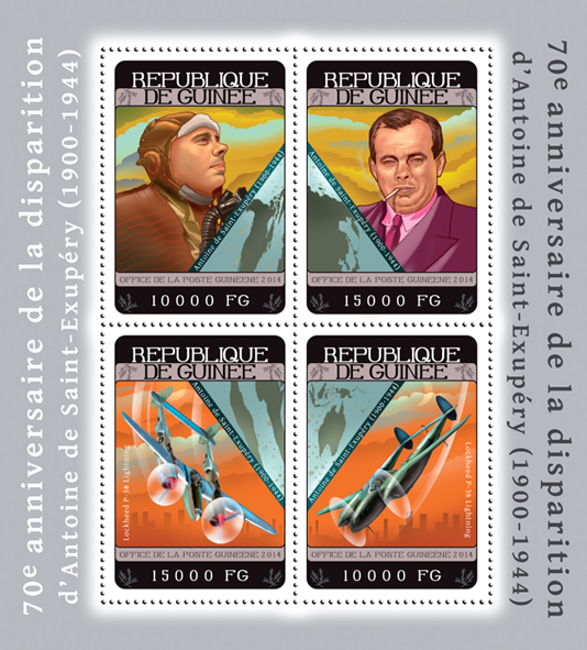 Antoine de Saint-Exupéry - Issue of Guinée postage stamps