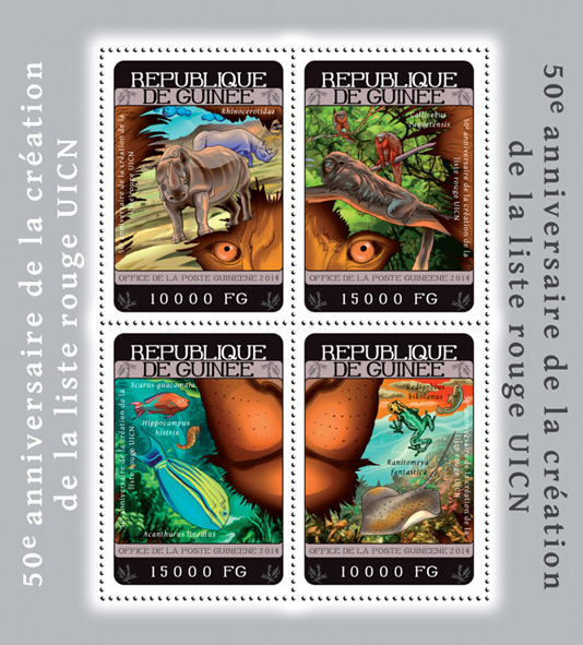 Red List - Issue of Guinée postage stamps